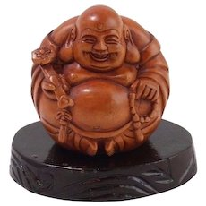Hand-Carved Wooden Buddha of Wealth Netsuke With Stand