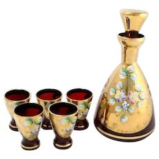 Bohemian Glass Decanter Set with Gold and Hand Enameled Flowers Decanter and  Shot Glasses