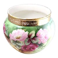 Fine JP France Large Floral Hand-Painted Porcelain Jardiniere