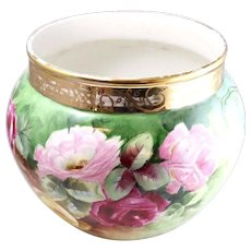 Fine JP France Large Floral Hand-Painted Porcelain Jardiniere