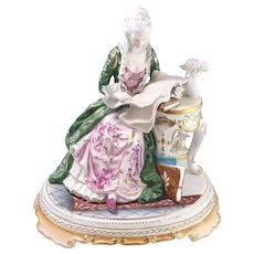 Large Hand Painted Dresden Woman in Green Reading Porcelain Figurine 10.75""