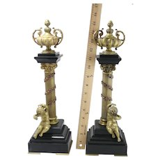 Pair Of Gilt Bronze Puttee And Urn Onyx Based Table Decorations