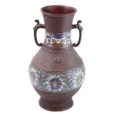 "Vintage Japanese Bronze Enameled Vase 11.75"""