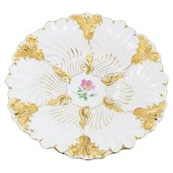 """Meissen White and Gold Ornate 11"""" Bowl with Pink Flower"""