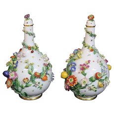Rare Pair Of Large Meissen Lidded Vases Raised Fruit And Floral Design 16'