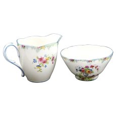Paragon Fine Bone China Blue and White with Colorful Flowers Creamer/Sugar Set