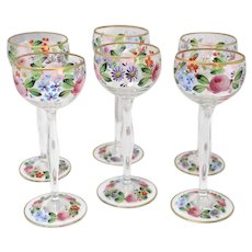 European Hand Painted Flowers Glass Wine Glasses, Gold Accents, Set of 6