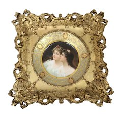 """Extremely Fine Vienna Style Hand Painted Framed Plate """"Schwester"""" (Sisters) Late 19th Century"""