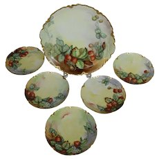 "Haviland Limoges Handpainted Charger With Six Matching Dessert Plates Artist ""Rockhold"" Strawberry Design"