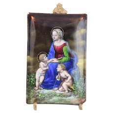 18th Century Enameled Plaque Holy Mother And Child Fine Detail