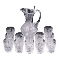 Stunning Vintage Queens Lace Cut Crystal Pitcher and Drinking Glasses Set, 14 Pcs