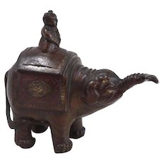 Antique Bronze Elephant Miniature Scent Burner