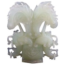 Vintage Hand-Carved Jade Sculpture Upside-Down Birds