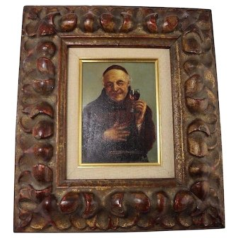 19th Century Vintage Original Oil on Canvas Painting of a Monk w/Glass of Wine