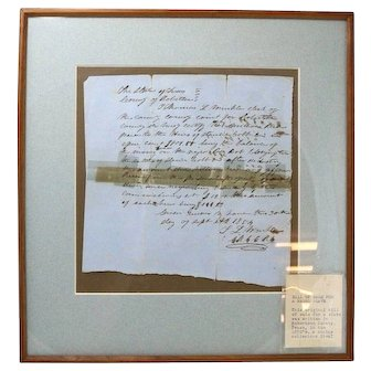 Rare Historical Authentic Slave Trade Receipt/Contract, Framed