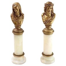 Pair of Vintage Cold-Painted Mary and Jesus Bust Sculptures on Onyx