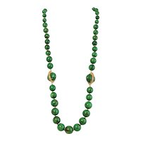 Vintage Miriam Haskell Marbled Green Resin Beaded Necklace
