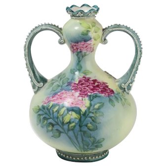 Rare Nippon Moriage Gourd Vase Double Handled Raised Floral Design