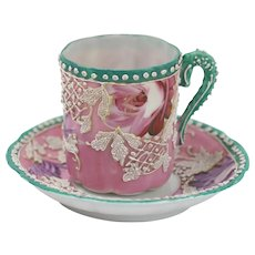 Nippon Moriage Pretty Pink Floral Blossom Tea Cup And Saucer