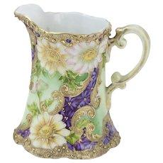 Rare Nippon moriage Gold Encrusted Purple Flower Cream / Pitcher