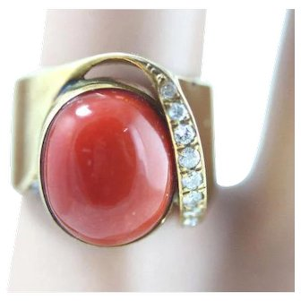 18k Yellow Gold Deep Red Ox Blood Coral And Diamond Ring
