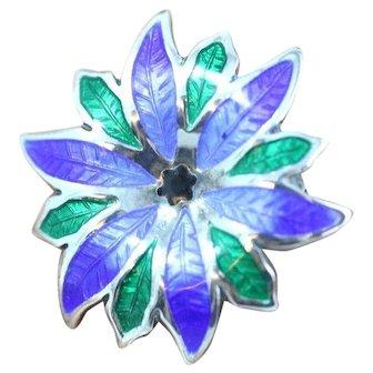 Vintage Blue and Green Enamel Flowered Pin/Brooch