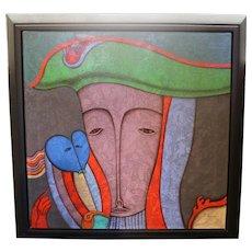 Mihail Chemiakin Oil On Canvas Framed 41 X 41