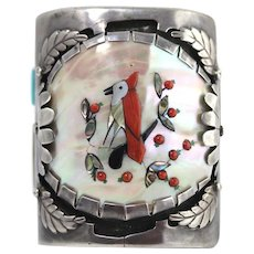 J. Quam Zuni Sterling Silver Mother Of Pearl Coral Bird And Berry Cuff Bracelet
