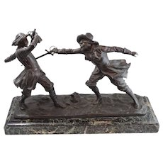 Antique Edouard Drouot Bronze Sculpture of Sword Fight on Marble