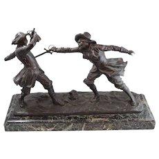 Antique Edouard Drouot Bronze Sculpture of Sword Fight on Marble