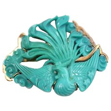 Vintage 14K Gold Wrapped Carved Persian Turquoise Bird Of Paradise Brooch/Pin