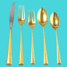 """67 Piece Wallace 'Royal Satin"""" Sterling Silver Flatware Set Gold Washed"""