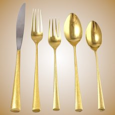 "67 Piece Wallace 'Royal Satin"" Sterling Silver Flatware Set Gold Washed"