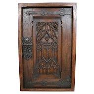 Antique Wood Elf Door Framed Metal Hardware