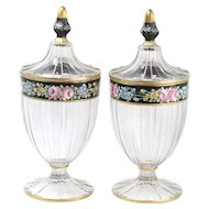 Pair Of Bohemian Glass Mantle Vases With Enamel Floral Decoration