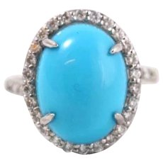Fine Vintage 14k White Gold w/ Diamonds Sleeping Beauty Turquoise Cabochon Ring