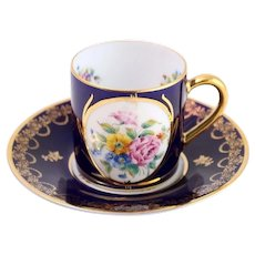 Hand Painted Limoges Cobalt & Gold Floral Demitasse Cup and Saucer