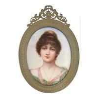 Vintage Portrait of a Woman - Hand Painted & Porcelain Plaque Framed