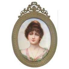 Vintage Portrait of a Woman - Hand Painted & Porcelain Plaque Framed