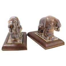 Vintage Ceramic Guardian Lion Bookends Arthur Hertzberg & Craftsmen