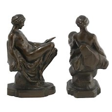 Young Nude Bathing Beauties Cold Cast Bronze Book Ends