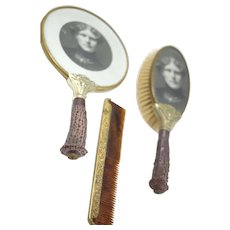 Victorian Style Vanity Set With Simulated Stag horn handles German Silver Face