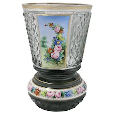 Vintage hand painted glass vase with floral motifs