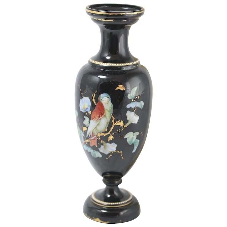Vintage Hand Painted Black Glass Vase Gilded With Bird 115