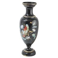 Vintage Hand Painted Black glass Vase gilded with bird 11.5''