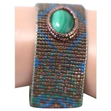 Vintage Fashion Malachite Mesh Beaded Bracelet