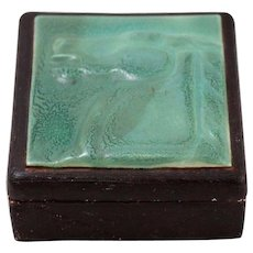 Vintage Tecco Ceramic Trinket Box, Green and Black with Horse