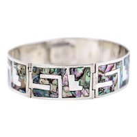 Elegant Fine Vintage Sterling Silver Abalone Shell Inlay Greek Key Link Bracelet