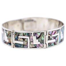 Elegant Fine Vintage Sterling Silver Abalone Shell Inlay Greek Key Link Bracelet