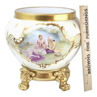 D&C France Hand Painted Love Scene Bowl With Porcelain Gold Guilt Stand Signed